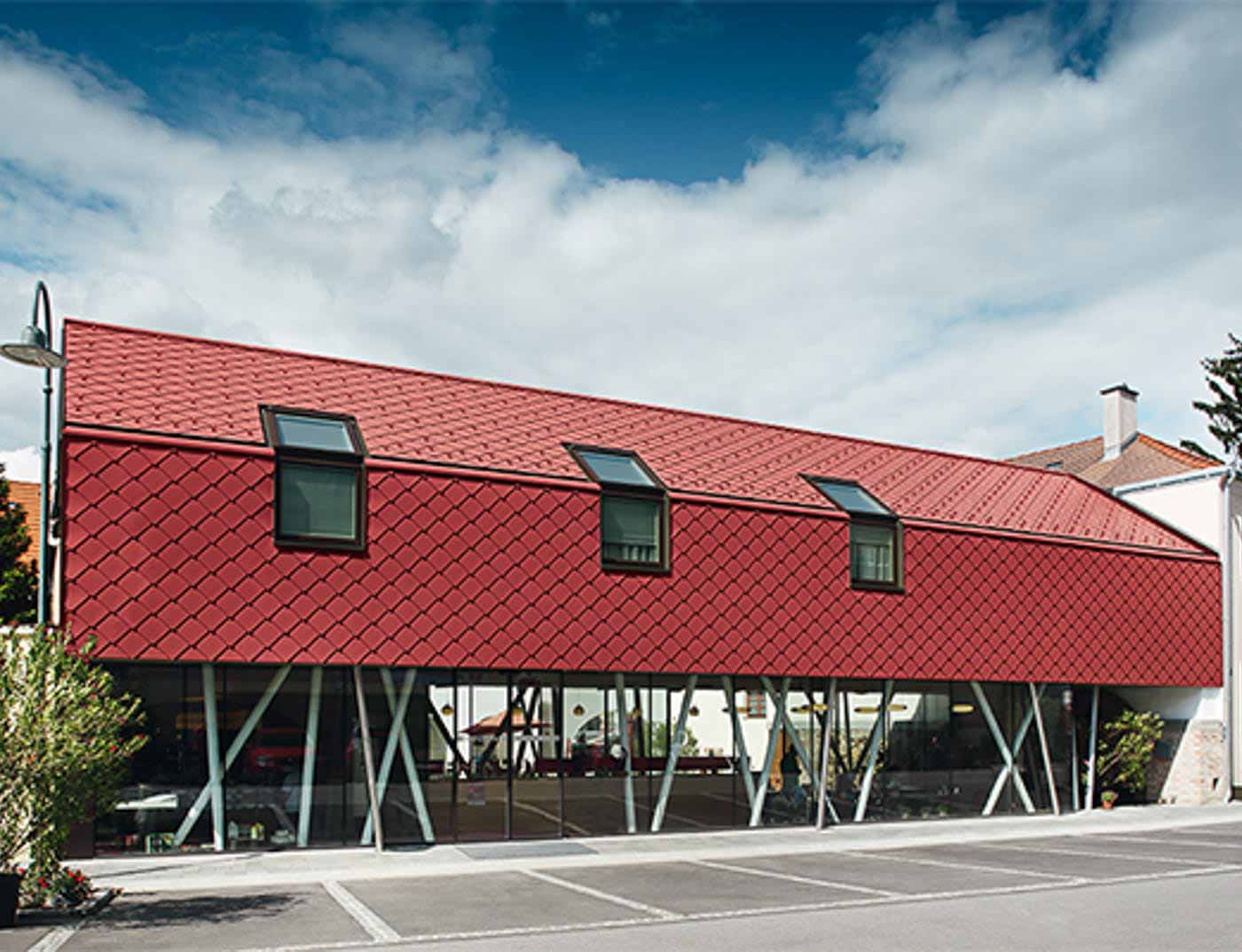 Reference buildings PREFA Façade systems Rhomboid façade tile 29 × 29 05 P.10 oxide red